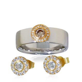 Silber-Rosen 4tlg Set Kropfkette 7-reihig, Brosche Armband Ring