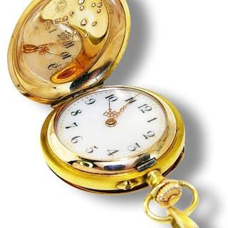 Goldene Taschenuhr 585 Gold mit Bourbonen-Lilie aus Diamanten