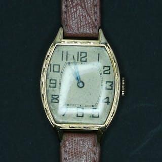 Gold Uhr antik mit rosa Lederband