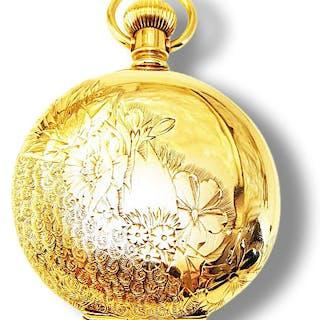 gravierte Damentaschenuhr Dreideckelgehäuse aus 14 Kt Gold