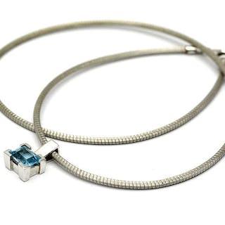 Halskedja vitguld 18K med hänge blå Topas