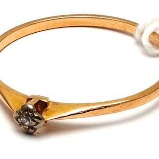 Ring med diamant 18K 1,3g Ø18½