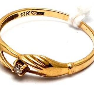 Ring med diamant 1xca 0,03ct 18K 1,6g Ø17½