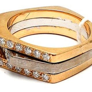 Ring 18K tvåfärgad med diamanter