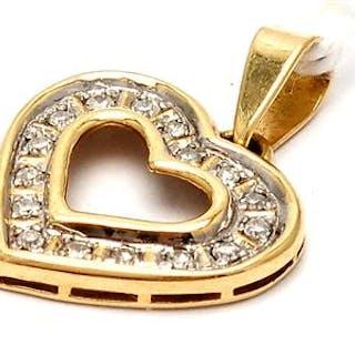 Hänge 18K tvåfärgat 1,7g med diamanter