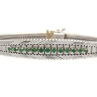 Armband 18K med gröna stenar 18K 28,5g 18,5cm