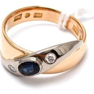 Ring med safir och diamanter 2xca0,03ct 18K 7,4g Ø18