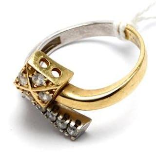 Tvåfärgad ring med stenar 14K