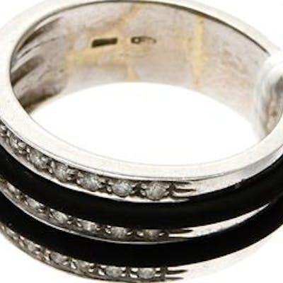 Ring vitguld med gummidetaljer med diamanter 33xca0,01ct 18K 9g Ø18¾