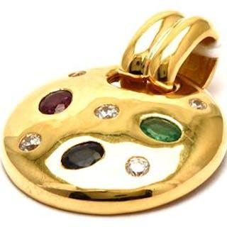 Hänge 18K 5,9g med stenar och diamanter 3xca0,07ct