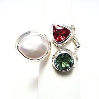 TOURMALINE MOBE PEARL STERLING SILVER EXPANDABLE RING Current Sales Barnebys