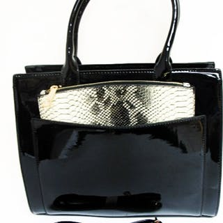 825acc3b7 LARGE BLACK PATENT HANDBAG WITH REMOVABLE POUCH