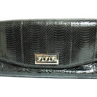 CHRISTIAN LOUBOUTIN BLACK LEATHER CLUTCH HANDBAG