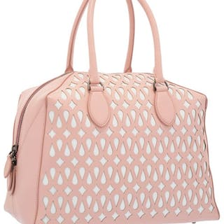 ALAIA PINK AND WHITE LEATHER HANDBAG