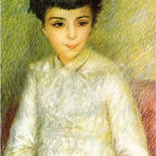 RENOIR ** YOUNG GIRL WITH BROWN HAIR **