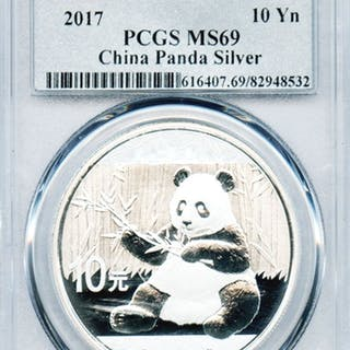 HIGH END GEM 2017 CHINESE 10 YN FIRST STRIKE SILVER PANDA MS69