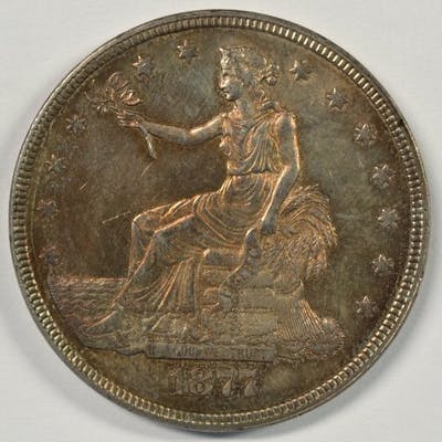 ORIGINAL BU 1877 TRADE SILVER DOLLAR. NICE