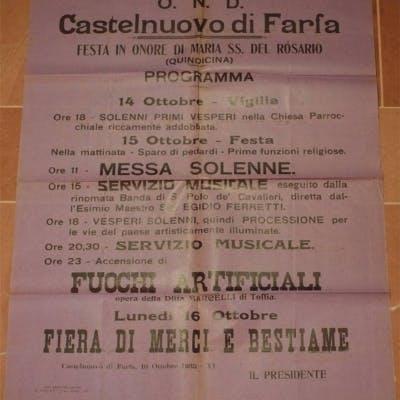 CASTELNUOVO DI FARFA FESTA IN ONORE DI MARIA SS. DEL ROSARIO 14 OTTOBRE
