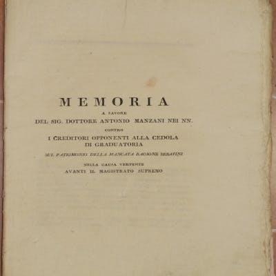 MEMORIA A FAVORE DEL SIG. DOTTORE ANTONIO MANZANI NEI NN. CONTRO I