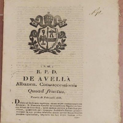 DE AVELLA ALBANEN CONSUCCESSIONIS QUOAD FRUCTUS VENERIS 13 FEBRUARII 1835