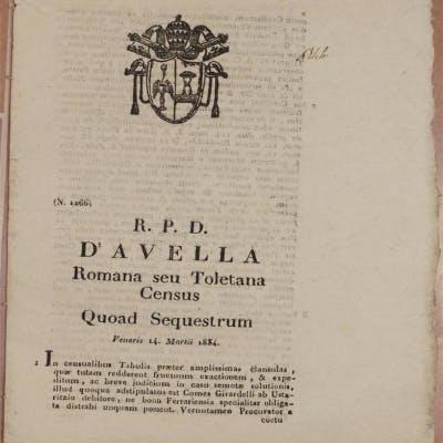 D'AVELLA ROMANA SEU TOLETANA CENSUS QUOAD SEQUESTRUM VENERIS 14 MARTII 1834