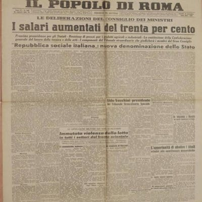 IL POPOLO DI ROMA ANNO XX - N. 329 VENERDI 26 NOVEMBRE 1943 - XXII