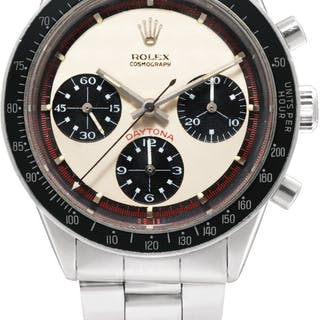 ROLEX  PAUL NEWMAN DAYTONA, REFERENCE 6241 A FINE AND RARE STAINLESS STEEL C...