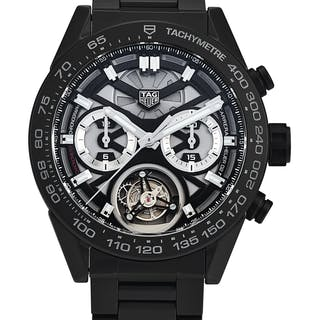 TAG HEUER  CARRERA 02T, REFERENCE CAR5A8W.FT6071 A BLACK PVD-COATED
