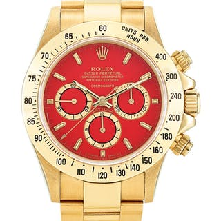 ROLEX  COSMOGRAPH DAYTONA, REFERENCE16528 A POSSIBLY UNIQUE YELLOW GOLD CHR...