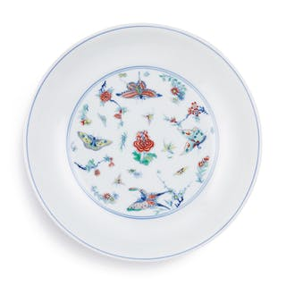 A FINE AND RARE DOUCAI 'BUTTERFLY' DISH MARK AND PERIOD OF YONGZHENG