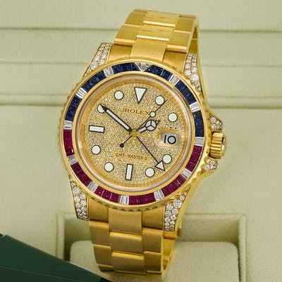 ROLEX  GMT MASTER II, REFERENCE 116758SR YELLOW GOLD,BLUE SAPPHIRE