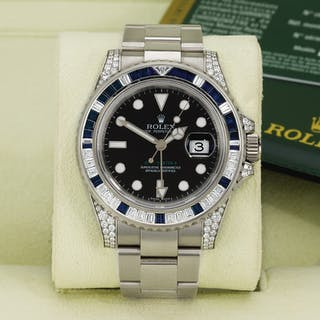 ROLEX  GMT-MASTER II, REFERENCE 116759SA WHITE GOLD, DIAMOND AND BLUE