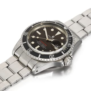 ROLEX  SUBMARINER SINGLE RED, REFERENCE 1680 STAINLESS STEEL WRISTWATCH WITH...