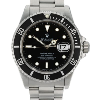 ROLEX  SUBMARINER, REFERENCE 16610 STAINLESS STEEL WRISTWATCH WITH