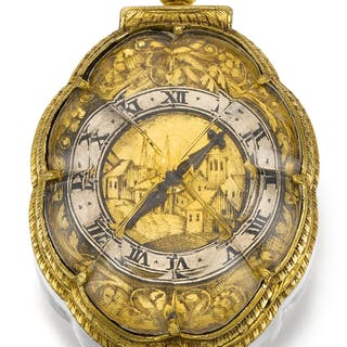 Swiss - A SMALL GILT-METAL AND ROCK CRYSTAL VERGE WATCHCIRCA 1635