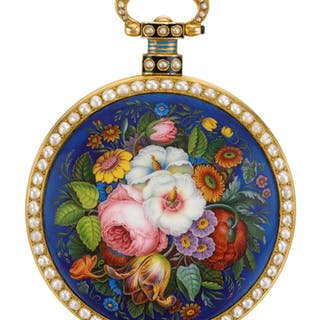 Swiss - A VERY FINE GOLD, ENAMEL AND PEARL-SET CYLINDER WATCH MADE