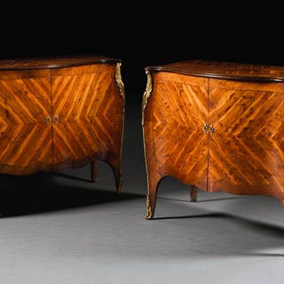 A PAIR OF GEORGE III GILT-BRONZE MOUNTED YEW-WOOD COMMODES, CIRCA