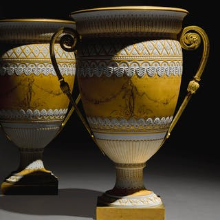 A PAIR OF SEVRES GILT-BRONZE-MOUNTED BISCUIT HARDPASTE PORCELAIN VASES, ATTRIBUT