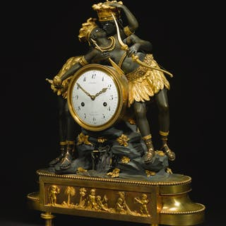 A DIRECTOIRE ORMOLU AND PATINATED BRONZE MANTEL CLOCK 'L'INDIEN ET