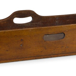 A GEORGE III BOW-FRONT MAHOGANY BUTLER'S TRAY ON A GEORGE III STYLE