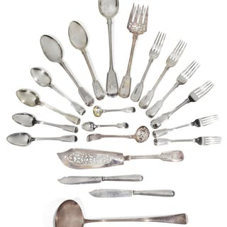 COMPOSITE FIDDLE & THREAD PATTERN TABLE SILVER, VARIOUS DATES AND