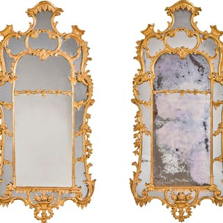 A PAIR OF GEORGE II CARVED GILTWOOD PIER MIRRORS, CIRCA 1755, MANNER