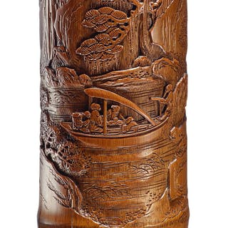 A BAMBOO 'SCHOLARS' BRUSHPOT QING DYNASTY, 18TH CENTURY