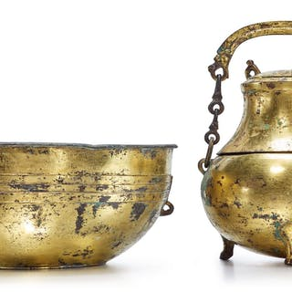 A GILT-BRONZE TRIPOD VESSEL (HU) AND COVER WITH A BASIN HAN DYNASTY