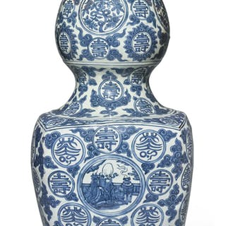 A LARGE BLUE AND WHITE 'SHOULAO' DOUBLE GOURD VASE MING DYNASTY, JIAJING PERIOD