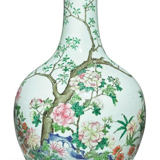 A FAMILLE-ROSE 'FLORAL' VASE QIANLONG SEAL MARK AND PERIOD