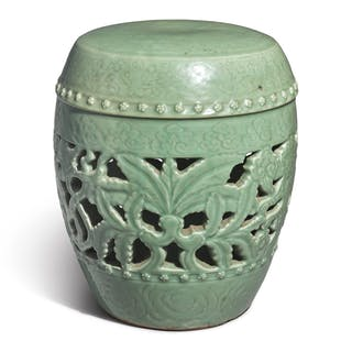 A CARVED AND RETICULATED CELADON-GLAZED 'LONGQUAN' GARDEN SEAT MING DYNASTY