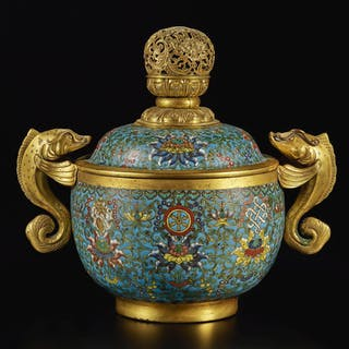 A CLOISONNE 'BAJIXIANG' BOWL AND COVER QING DYNASTY, QIANLONG PERIOD