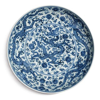 A FINE BLUE AND WHITE 'DRAGON' DISH ZHENGDE MARK AND PERIOD