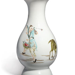 A FAMILLE-ROSE 'IMMORTAL' VASE QING DYNASTY, YONGZHENG PERIOD
